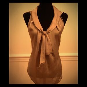 EUC- Sleeveless Taupe Satin Top With Front Knot